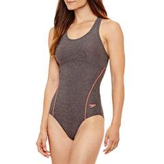 Speedo Heather Thick Strap One Piece Swimsuit