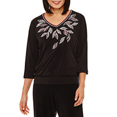 Alfred Dunner Saratoga Springs 3/4 Sleeve V Neck T-Shirt-Womens