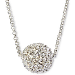 Monet® Silver-Tone Crystal Fireball Pendant Necklace