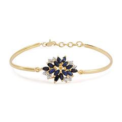 Blue & White Lab-Created Sapphire 14K Gold Over Silver Bangle Bracelet
