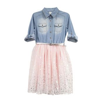 Arizona Roll-Tab Sleeve Tutu Dress Girls