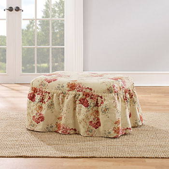Superb Sure Fit Ballad Bouquet 2Pc Ottoman Slipcover Ncnpc Chair Design For Home Ncnpcorg