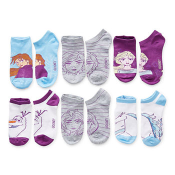 Little & Big Girls 6 Pair Frozen No Show Socks