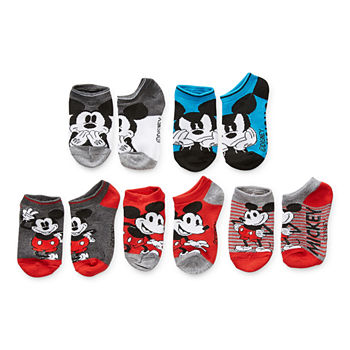 Little & Big Boys 5 Pair Mickey Mouse No Show Socks