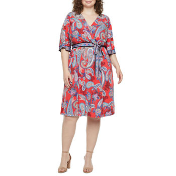 Studio 1-Plus Short Sleeve Paisley Fit & Flare Dress