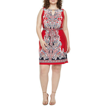 Studio 1-Plus Sleeveless Medallion Puff Print Belted Shift Dress