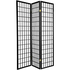 Oriental Furniture 6' Window Pane Shoji 3 Panel Room Divider