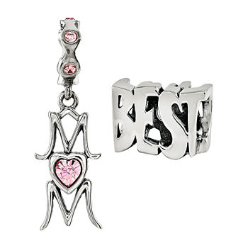 "PS Personal Style ""Best Mom"" Crystal Sterling Silver Bead"