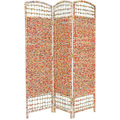 Oriental Furniture 5.5' Recycled Magazine 3 PanelRoom Divider