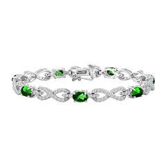 Womens 7 1/2 Inch Green Emerald Sterling Silver Chain Bracelet