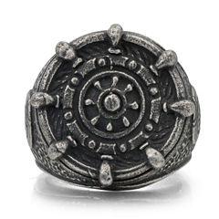 Mens Stainless Steel Ship Wheel Signet Ring