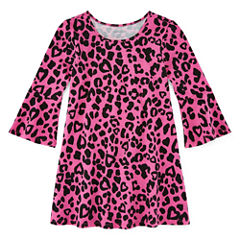 Okie Dokie Short Sleeve Cheetah A-Line Dress - Toddler Girls