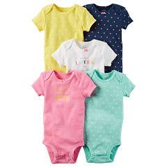 Carter's Little Baby Basics Girl 5-Pack Short Sleeve Bodysuits