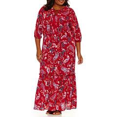 Boutique + Tie Neck 3/4 Sleeve Maxi Dress-Plus