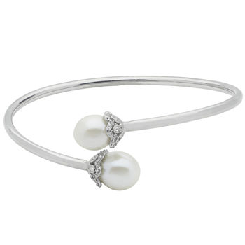 10.5-11Mm Cultured Freshwater Pearl And Genuine White Topaz Sterling Silver Bangle Bracelet