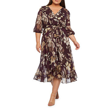 Danny & Nicole-Plus 3/4 Sleeve Floral Fit & Flare Dress