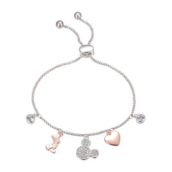 Disney Mickey Mouse Crystal Silver Over Brass Heart Bolo Bracelet