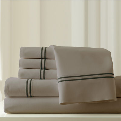 thread count cotton blend double marrow hem sheet set - Cal King Sheets