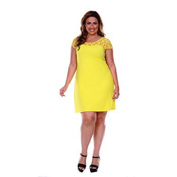59951a8295 White Mark Lace Cutout Sheath Dress - Plus