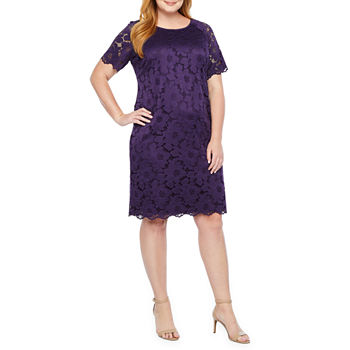 b12ef9bfb8064 Ronni Nicole Short Sleeve Floral Lace Sheath Dress-Plus