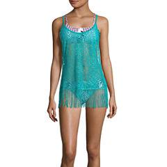 Social Angel Crochet Swimsuit Cover-Up Dress-Juniors
