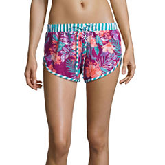 Social Angel Floral Swimsuit Cover-Up Shorts-Juniors