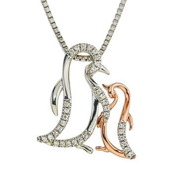 """Mother And Daughter"" Womens 1/10 CT. T.W. Genuine White Diamond 10K Gold Sterling Silver Pendant Necklace"