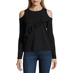 i jeans by Buffalo 3/4 Sleeve Cold Shoulder Ruffle Top