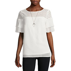 Alyx Lace Yoke Neck Lace Top