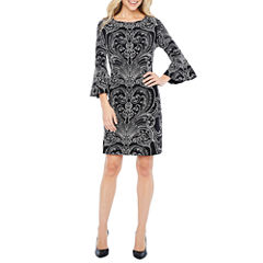 Studio 1 3/4 Sleeve Paisley Sheath Dress