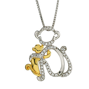 """Mother And Daughter"" Womens 1/8 CT. T.W. Genuine White Diamond 10K Gold Sterling Silver Pendant Necklace"
