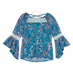Knit Works Crossback Crochet Top with Necklace - Girls' 7-16