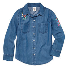 Arizona Long Sleeve Button-Front Chambray Shirt - Girls' 7-16 & Plus