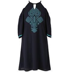 Speechless Elbow Sleeve Cold Shoulder Sleeve A-Line Dress - Big Kid Girls