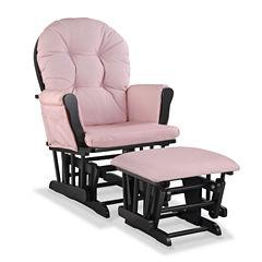 Storkcraft Hoop Glider And Ottoman - Gray W/ Pink Blush Swirl Cushions Dome-Arm Glider