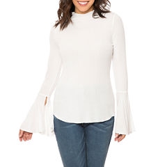 T.D.C Funnel Neck Flare Sleeve Knit Top