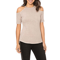 T.D.C Short-sleeve Cold Shoulder Rib Knit Top