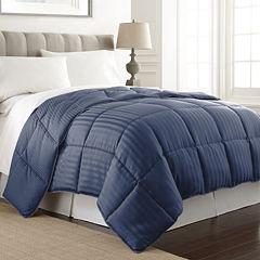 Pacific Coast Textiles Dobby Stripe Down Alternative Comforter Stripes Midweight Comforter