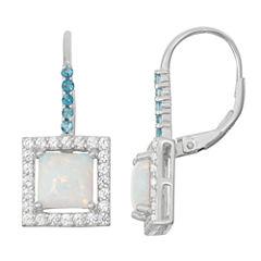 Lab-Created Opal & Genuine London Blue Topaz Sterling Silver Leverback Earrings