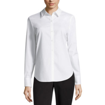 Button Front Shirts White Tops For Women Jcpenney
