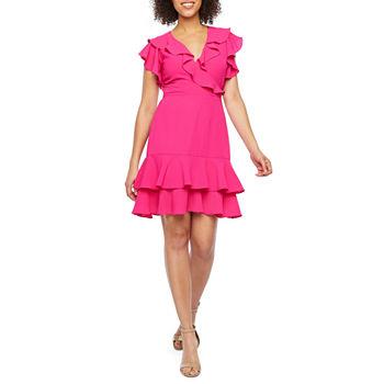 d55d4059ba99 Nicole Miller Flutter Sleeve Floral Wrap Dress. Add To Cart. New. Fuschia