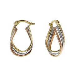 Tri-Color 14K Gold Triple Hoop Earrings