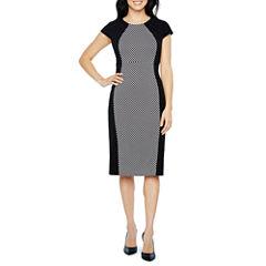 Liz Claiborne Short Sleeve Pattern Sheath Dress