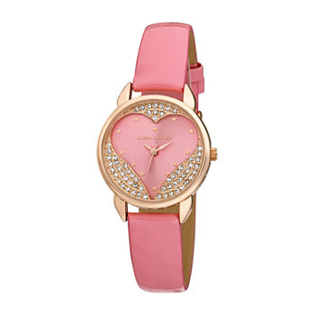 Laura Ashley Womens Crystal Accent Pink Strap Watch-La31082pk