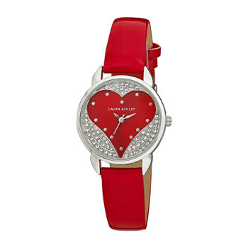 Laura Ashley Womens Crystal Accent Red Strap Watch-La31082rd