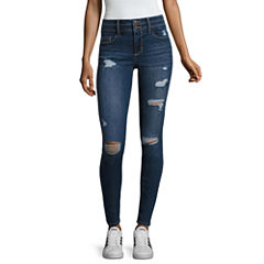 Blue Spice High Rise Destructed Skinny Jeans-Juniors