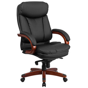 Wondrous High Back Leather Executive Swivel Chair With Synchro Tilt Mechanism Mahogany Wood Base And Arms Pdpeps Interior Chair Design Pdpepsorg