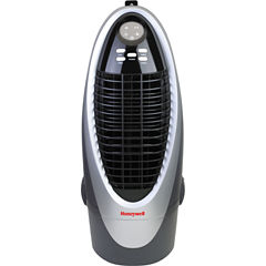 Honeywell 300 CFM Indoor Evaporative Air Cooler (Swamp Cooler) with Remote Control in Silver/Gray