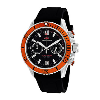 Sea-Pro Mens Black Strap Watch-Sp0334