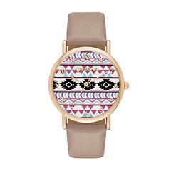 Arizona Womens Rose Gold Tone Aztec Print Taupe Strap Watch